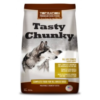 Top Ration Tasty Chunky for Adult & Mature Maintenance 40lbs Premium Dry Dog Food