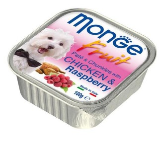 Monge Fruit Pate & Chunkies with Chicken & Raspberry 100g Dog Wet Food