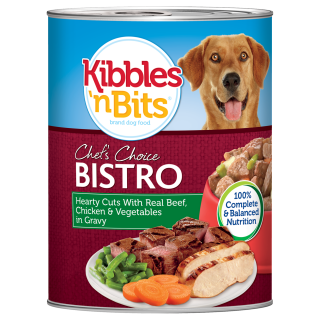 Kibbles 'n Bits Hearty Cuts with Real Beef, Chicken and Vegetables in Gravy 374g Dog Wet Food