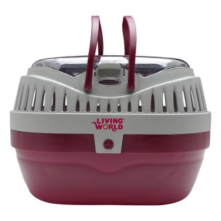 Living World LARGE Carrier for Small Pets - Red/Gray