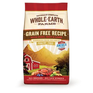 Whole Earth Farms Grain Free Recipe with Pork, Beef & Lamb (Poultry-Free) 11.3kg Dog Dry Food