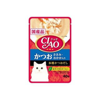 Ciao Pouch Tuna Katsuo & Chicken Fillet Topping Dried Bonito 40g Cat Wet Food (IC-204)