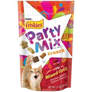 Purina Friskies Party Mix Crunch Mixed Grill Chicken, Beef & Salmon Flavor 60g Cat Treats