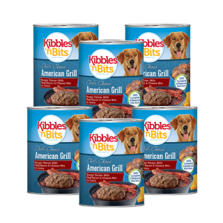 PROMO 5+1 BUNDLE PACK Kibbles 'n Bits American Grill Burger Dinner with Real Bacon & Cheese Bits in Gravy 374g Dog Wet Food