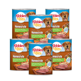 PROMO 5+1 BUNDLE PACK Kibbles 'n Bits Homestyle Tender Slices with Real Beef, Chicken & Vegetables in Gravy 374g Dog Wet Food