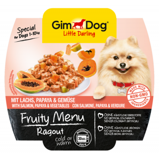 GimDog Fruity Menu Ragout with Salmon, Papaya & Vegetables 100g Dog Wet Food