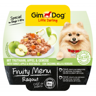 GimDog Fruity Menu Ragout with Turkey, Apple & Vegetables 100g Dog Wet Food