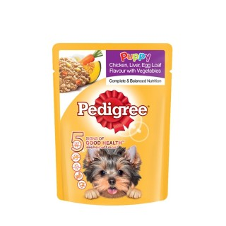 Pedigree Puppy Chicken, Liver, Egg Loaf Flavor with Vegetables 80g Dog Wet Food