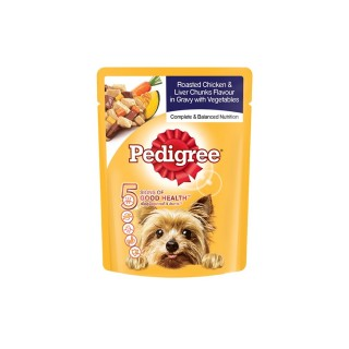 Pedigree Roasted Chicken & Liver Chunks Flavor in Gravy with Vegetables 80g Dog Wet Food