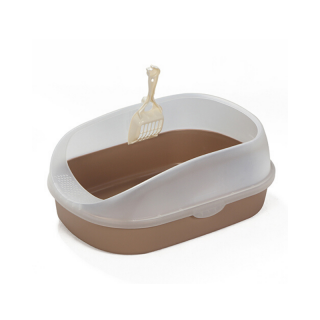 Crystal Series High Back Brown Cat Litter Pan and Scoop