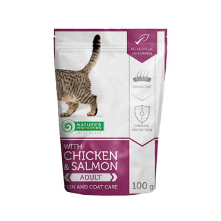 Nature's Protection Chicken and Salmon Skin and Coat Care 100g Cat Wet Food