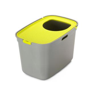 Moderna Top Cat Gray with Lemon Lid Top Entry Cat Litter Box