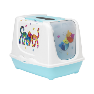 Moderna Friends Forever Trendy Cat Closed Litter Pan Box with Litter Scoop (Blueberry)