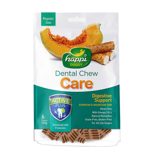 Happi Doggy Dental Chew Care Digestive Support Pumpkin & Mountain Yam Regular Size 150g Dog Treats