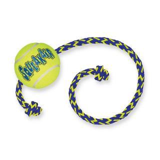 Kong SqueakAir Tennis Ball with Rope Medium Dog Toy