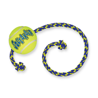 Kong SqueakAir Tennis Ball with Rope Medium Dog Toy