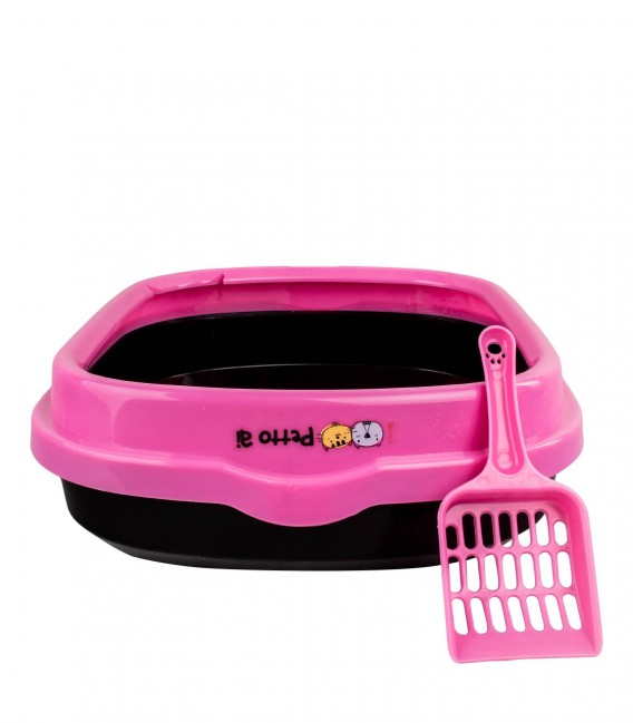 Petto Ai Rectangle Cat Litter Pan Box with Litter Scoop