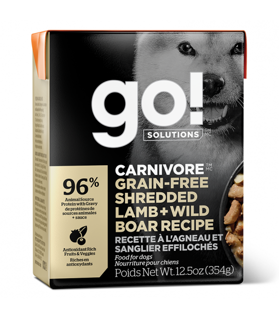 Go! Solutions Carnivore Grain-Free Shredded Lamb + Wild Boar Recipe 354g Tetra Pak Dog Wet Food/Toppers