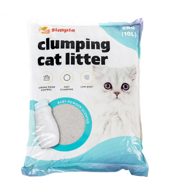 Simple Baby Powder Clumping Cat Litter 10L (8kg)