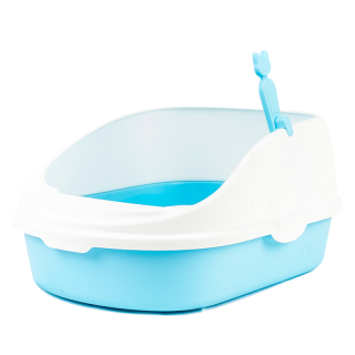Simple Blue High Back Open-Top Cat Litter Box with Scoop