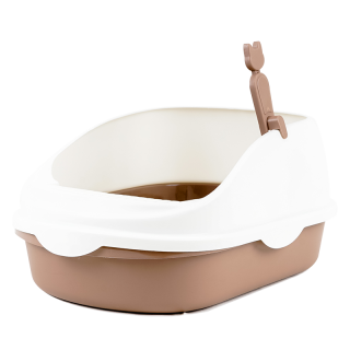 Simple Brown High Back Open-Top Cat Litter Box with Scoop