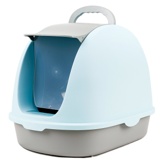 Simple Blue Flip Top Enclosed Cat Litter Box with Scoop