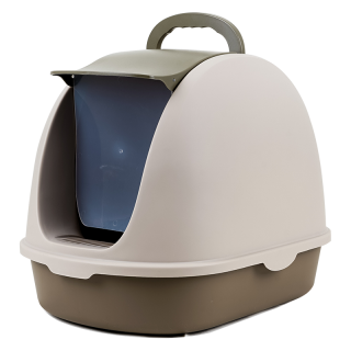 Simple Brown Flip Top Enclosed Cat Litter Box with Scoop