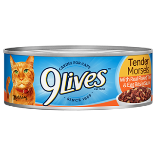 9 Lives Tender Morsels with Real Flaked Tuna & Egg Bits in Sauce 5.5oz Cat Wet Food