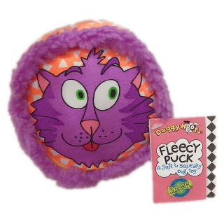 Doggy Hoots Fleecy Puck Purple Squeaky Dog Toy