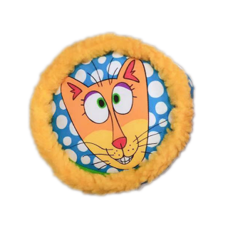 Doggy Hoots Fleecy Puck Yellow Squeaky Dog Toy