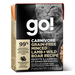 Go! Solutions Carnivore Grain-Free Minced Lamb + Wild Boar Recipe 182g Tetra Pak Cat Wet Food/Toppers