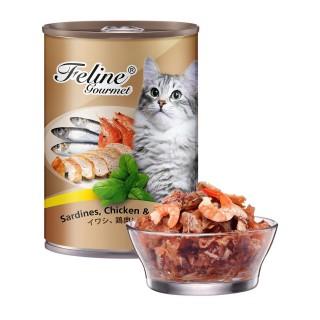 Pet Plus Feline Gourmet Sardines, Chicken & Prawn 400g Cat Wet Food