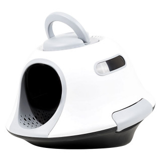 Simple UFO Gray Cat Litter Box with Scoop