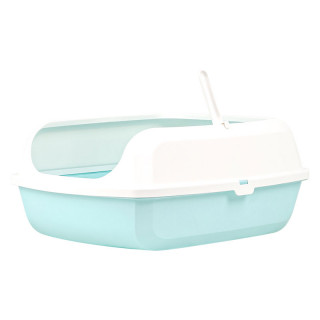 Simple Blue Open Top Cat Litter Box with Rim and Scoop