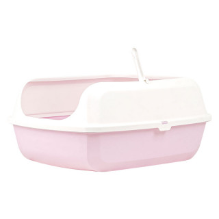 Simple Pink Open Top Cat Litter Box with Rim and Scoop