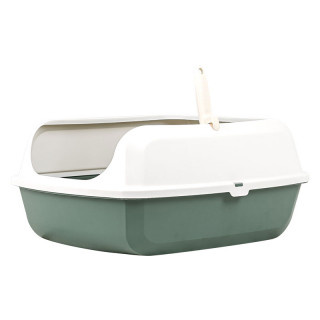 Simple Dark Green Open Top Cat Litter Box with Rim and Scoop