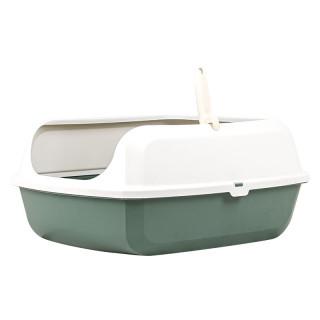 Simple Dark Green Open Top Cat Litter Box with Rim and Scoop