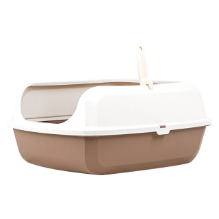 Simple Brown Open Top Cat Litter Box with Rim and Scoop