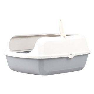 Simple Gray Open Top Cat Litter Box with Rim and Scoop