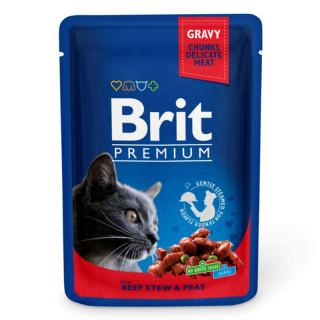 Brit Premium Gravy Chunks with Beef Stew & Peas 100g Cat Wet Food