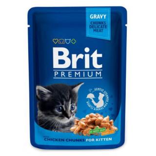 Brit Premium Gravy Chunks with Chicken Chunks 100g Kitten Wet Food
