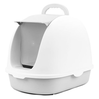 Simple Gray Flip Top Enclosed Cat Litter Box with Scoop