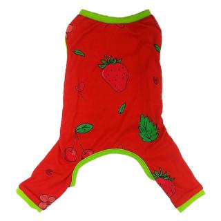 Pawsh Couture Cotton Stretch Onesies Strawberry Pet Pajamas