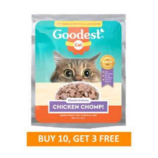 BUY 10 + 3 Goodest Cat Chicken Chomp Chunks in Gravy 85g Cat Wet Food