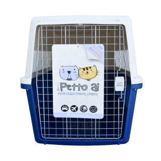 Petto Ai Airline Approved Pet Carrier Crate - DARK BLUE