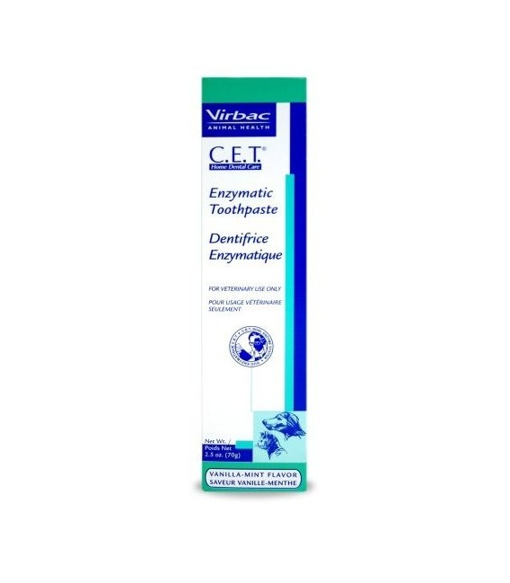Virbac CET Enzymatic Toothpaste Vanilla-Mint Flavor 70g for Dogs & Cats