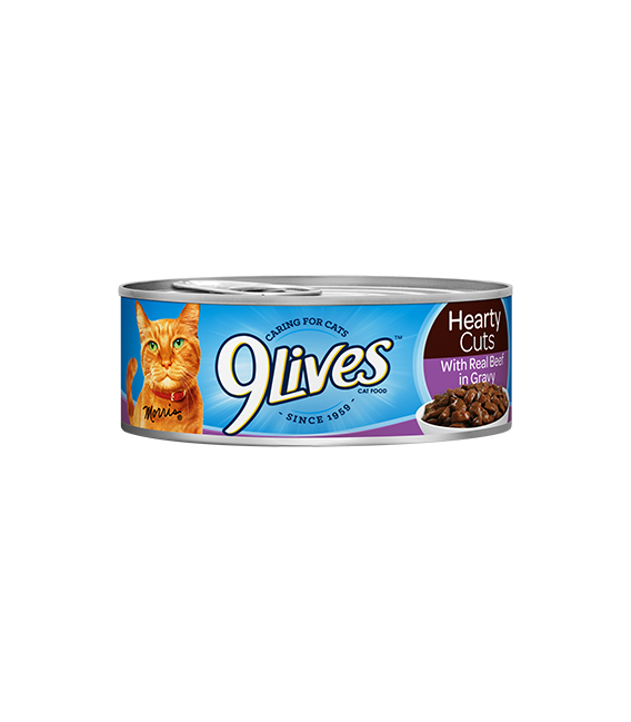 9 Lives Hearty Cuts with Real Beef in Gravy 156g Cat Wet Food