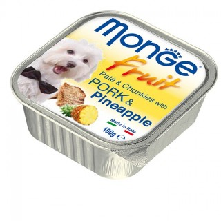 Monge Fruit Pate & Chunkies with Pork & Pineapple 100g Dog Wet Food