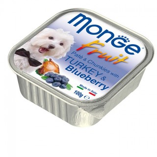 Monge Fruit Pate & Chunkies with Turkey & Blueberry 100g Dog Wet Food
