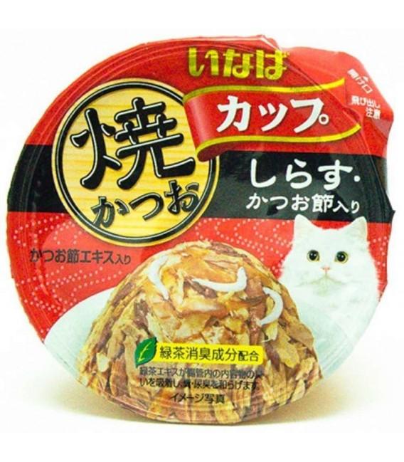 Inaba Yaki Katsuo Cup Tuna in Gravy Topping Whitebait & Sliced Bonito 80g Cat Wet Food